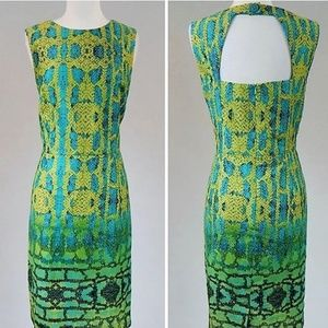 Green Snake Print Dress SZ- 2 Open Back Muse